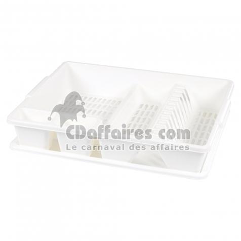 egouttoir vaisselle+plateau 47*39*h10.5cm - blanc - CDAffaires