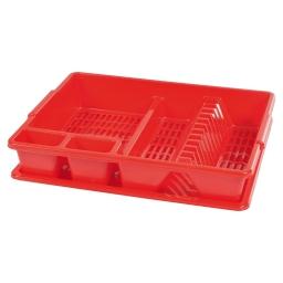 egouttoir vaisselle+plateau 47*39*h10.5cm - rouge
