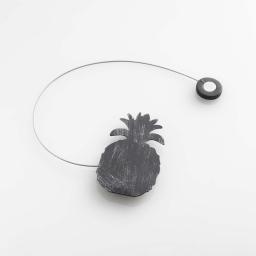 Embrase aimantee l 30 x 8 x 4.5 cm metal patine ghana Noir/Argent