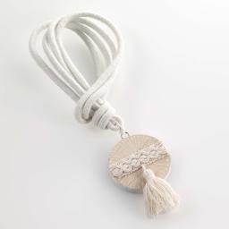 Embrase corde l 41 x (0) 6 cm bois imprime caluna Blanc