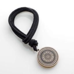 Embrase corde l 41 x (0) 6 cm bois imprime hypnotica Noir