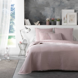 Ensemble couvre lit matelassé 180x220 cm +1 housse de coussin 60x60 cm dorina Nude