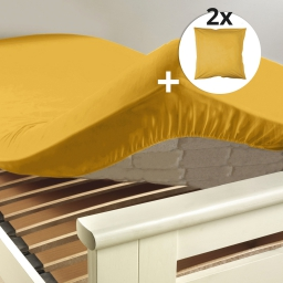 Ensemble drap housse 160 x 200 cm + 2 taies d'oreiller 63 x 63 100% coton Miel