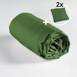 Ensemble drap housse 160 x 200 cm + 2 taies d'oreiller 63 x 63 100% coton Vert sapin
