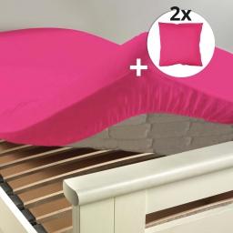 Ensemble drap housse 180 x 200 cm + 2 taies d'oreiller 63 x 63 100% coton  Bois de rose