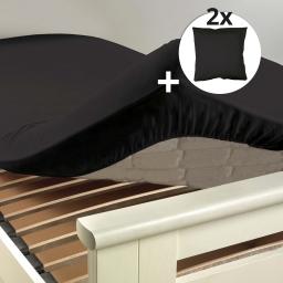 Ensemble drap housse 180 x 200 cm + 2 taies d'oreiller 63 x 63 100% coton  Noir