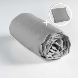 Ensemble drap housse 90 x 190 + 1 taie d'oreiller 63 x 63 100% coton  Galet