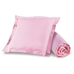 Ensemble drap housse 90 x 190 + 1 taie d'oreiller 63 x 63 100% coton Rose clair