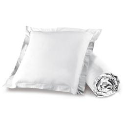 Ensemble drap housse 90 x 190 + 1 taie d'oreiller 63 x 63 cm 100% coton Blanc
