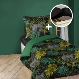 Ensemble parure de couette 140x200 Tropical green + drap housse 90x190 Noir