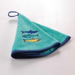 essuie-main rond (0) 60 cm eponge brodee blue lagoon
