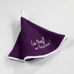 Essuie-main rond (0) 60 cm eponge brodee cuistot Prune