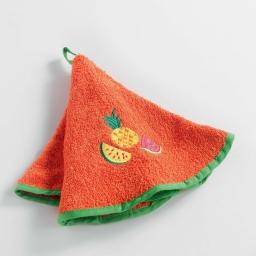 Essuie-main rond (0) 60 cm eponge brodee fruitero Orange