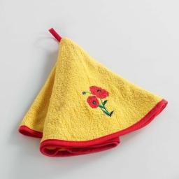 Essuie-main rond (0) 60 cm eponge brodee poppy flower Jaune