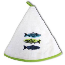Essuie-main rond (0) 60 cm eponge brodee sardinades Vert