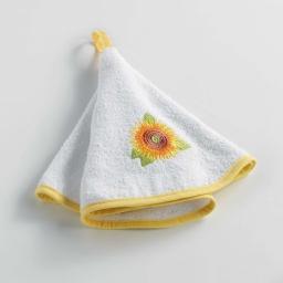 Essuie-main rond (0) 60 cm eponge brodee yellow flower Blanc