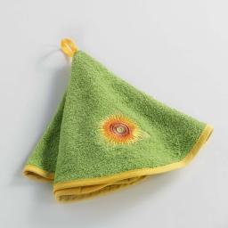 Essuie-main rond (0) 60 cm eponge brodee yellow flower Vert