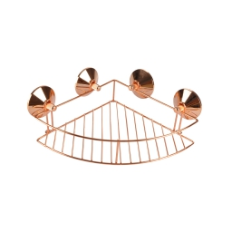 Etagere de douche d'angle a ventouses fortes metal or/rose Or Rose