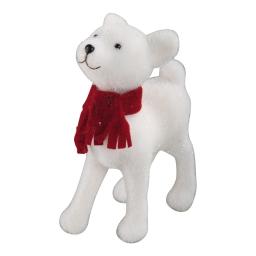 faon-couleur blanche avec echarpe rouge-h35*l23*15cm