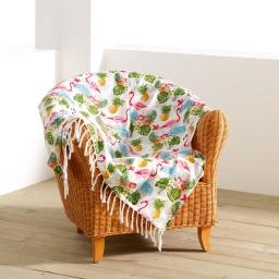 fouta a franges 100 x 200 cm coton imprime exotic life
