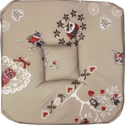 Galette 4 rabats 36 x 36 x 3.5 cm polyester imprime chouetti Lin