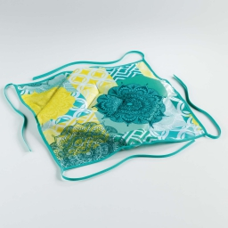 Galette 4 rabats 36 x 36 x 3.5 cm polyester imprime flamenco Bleu