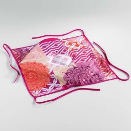 Galette 4 rabats 36 x 36 x 3.5 cm polyester imprime flamenco Rose