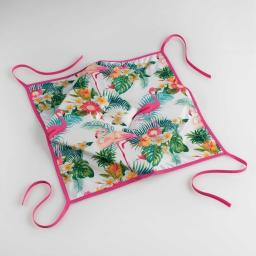 Galette 4 rabats 36 x 36 x 3.5 cm polyester imprime flamingo beach Blanc