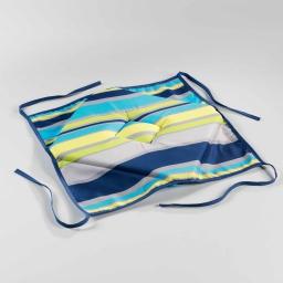 Galette 4 rabats 36 x 36 x 3.5 cm polyester imprime marina Bleu