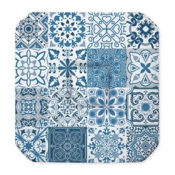 Galette 4 rabats 36 x 36 x 3.5 cm polyester imprime persane Bleu