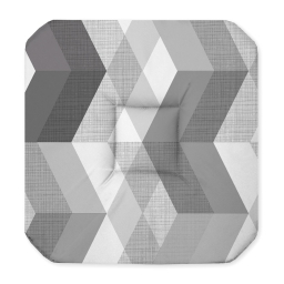 Galette 4 rabats 36 x 36 x 3.5 cm polyester imprime ultragraphic Noir/Blanc