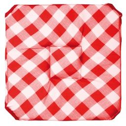 Galette 4 rabats 36 x 36 x 3.5 cm polyester imprime vichy Rouge