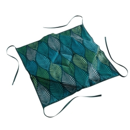 Galette 4 rabats 36 x 36 x 3.5 cm polyester imprime winter green Bleu