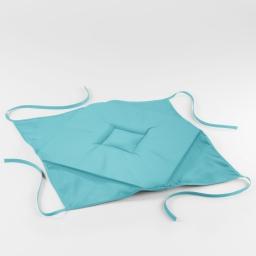 Galette 4 rabats 36 x 36 x 3.5 cm polyester uni essentiel Turquoise