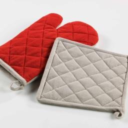 Gant+ manique 17 x 28 cm/20 x 20 cm coton bicolore cerisettes Rouge