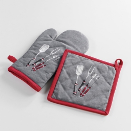 gant + manique 17 x 28 cm/20 x 20 cm coton imprime bbq