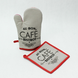 gant+ manique 17 x 28 cm/20 x 20 cm coton imprime bistrot chic