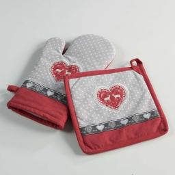 gant + manique 17 x 28 cm/20 x 20 cm coton imprime brode edelweiss