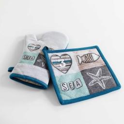 gant + manique 17 x 28 cm/20 x 20 cm coton imprime cap ouest