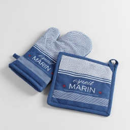 gant + manique 17 x 28 cm/20 x 20 cm coton imprime esprit marin