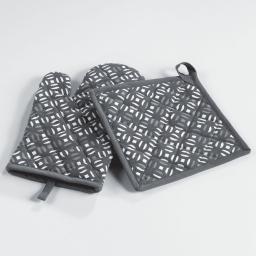 Gant + manique 17 x 28 cm/20 x 20 cm coton imprime lucie Gris