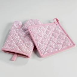 Gant + manique 17 x 28 cm/20 x 20 cm coton imprime lucie Rose