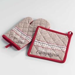 gant + manique 17 x 28 cm/20 x 20 cm coton imprime picoti