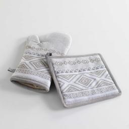 gant + manique 17 x 28 cm/20 x 20 cm coton imprime samos