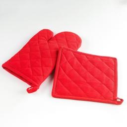 Gant+ manique 17 x 28 cm/20 x 20 cm coton uni 9508 cerise Rouge