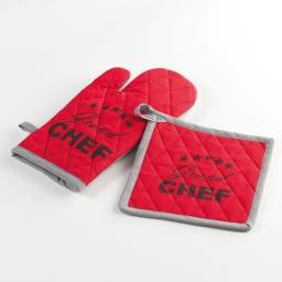 Gant + manique 17 x 31 cm/20 x 20 cm coton imprime chef etoile Rouge
