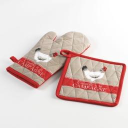 Gant + manique 17 x 31 cm/20 x 20 cm coton imprime coquette Taupe