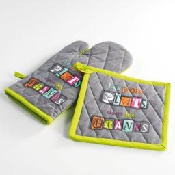 Gant + manique 17 x 31 cm/20 x 20 cm coton imprime petits plats Vert