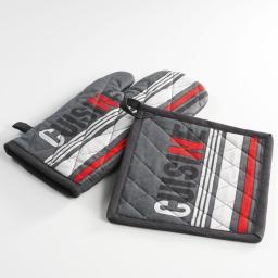 Gant + manique 17 x 31 cm/20 x 20 cm coton imprime top cuisine Gris