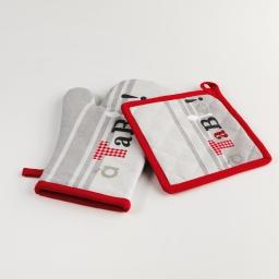 Gant + manique 18 x 28 cm/20 x 20 cm coton imprime epicurien Gris
